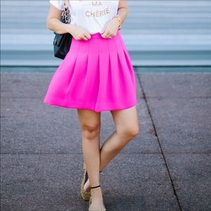J. Crew Pleated A-Line Hot Pink Skirt Size 2